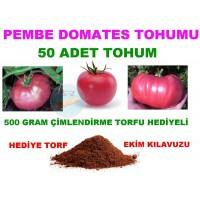 Tohum - 50 Adet Pembe Domates Tohumu Torf Hediyeli