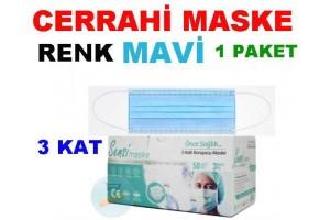 Maske 50 Adet Telli Sensi Marka - Renk Mavi