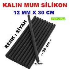Mum Silikon Kalın Siyah Renk 12mm x 30 cm