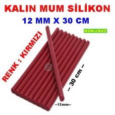 Mum Silikon Kalın Kırmızı Renk 12mm x 30 cm
