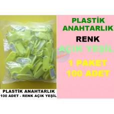 Plastik Renkli Anahtarlık Açık Yeşil 100 Adet
