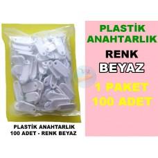 Plastik Renkli Anahtarlık Beyaz 100 Adet