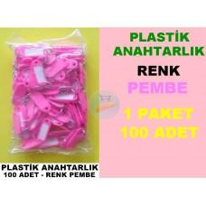 Plastik Renkli Anahtarlık Pembe 100 Adet