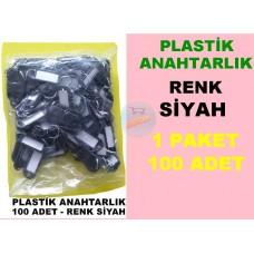 Plastik Renkli Anahtarlık Siyah 100 Adet