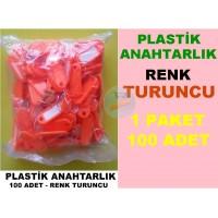 Plastik Renkli Anahtarlık Turuncu 100 Adet