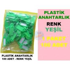 Plastik Renkli Anahtarlık Yeşil 100 Adet