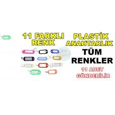Plastik Anahtarlık 11 Farklı Renk Tüm Renkler