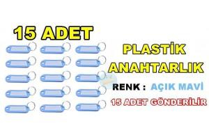 Plastik Renkli Anahtarlık Renk Açık Mavi 15 Adet