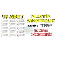 Plastik Anahtarlık Renk Beyaz 15 Adet