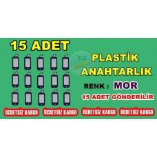 Plastik Renkli Anahtarlık Renk Mor 15 Adet