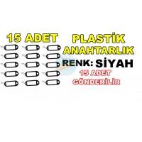 Plastik Anahtarlık Renk Siyah 15 Adet
