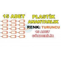 Plastik Anahtarlık Renk Turuncu 15 Adet