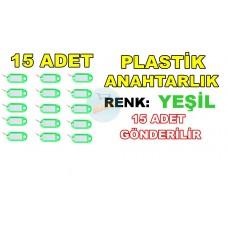 Plastik Anahtarlık Renk Yeşil 15 Adet