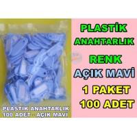 Plastik Renkli Anahtarlık Renk Açık Mavi 100 Adet