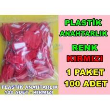 Plastik Renkli Anahtarlık Renk Kırmızı 100 Adet