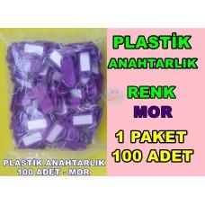 Plastik Renkli Anahtarlık Renk Mor 100 Adet