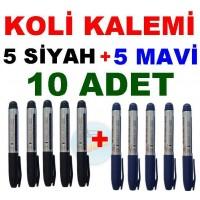 Koli Kalemi 5 Siyah 5 Mavi Toplam 10 Adet