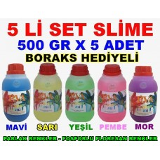 500 Gr Slime X 5 Adet - 5 Li Set - Zıp Zıp Oyun Jeli Boraks Hediyeli