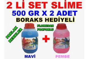 500 Gr Slime X 2 Adet - Mavi Pembe Zıp Zıp Oyun Jeli Boraks Hediyeli