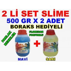 500 Gr Slime X 2 Adet - Mavi Sarı Zıp Zıp Oyun Jeli Boraks Hediyeli