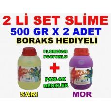 500 Gr Slime X 2 Adet - Sarı Mor Zıp Zıp Oyun Jeli Boraks Hediyeli