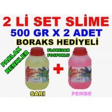 500 Gr Slime X 2 Adet - Sarı Pembe Zıp Zıp Oyun Jeli Boraks Hediyeli