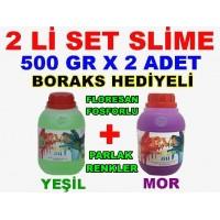500 Gr Slime X 2 Adet - Yeşil Mor Zıp Zıp Oyun Jeli Boraks Hediyeli