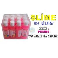 Slime Sıvı 12Li Set Renk Pembe 75 mlx12