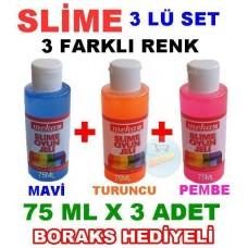 Slime 3 Lü Kit Mavi Turuncu Pembe 75 ml x 3 Adet