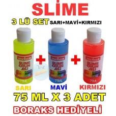 Slime 3 Lü Kit Sarı Mavi Kırmızı 75 ml x 3 Adet