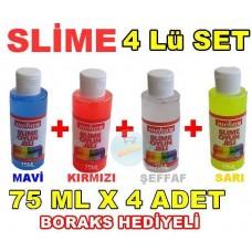 Slime 4 Lü Kit Mavi Kırmızı Şeffaf Sarı 75 ml x 4 Adet