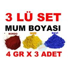 3 Lü Set Mum Boyası 3 Farklı Renk 4 Gr X 3 Adet Boya - BORDO - SARI - MAVİ