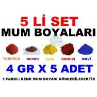 5 Li Set Mum Boyası 5 Farklı Renk 4 Gr X 5 Adet Boya - TURUNCU - BORDO - SARI - KIRMIZI - MAVİ