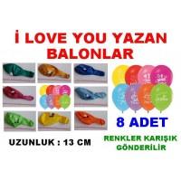 Balon 8 Adet I Love You Desenli Balonlar
