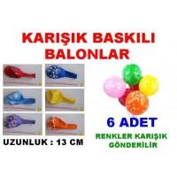 Karışık Sembollü Balon Çeşitleri Farklı Balonlar 6 Adet