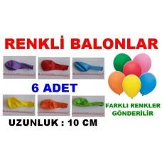 Balon 6 Adet Sade Desensiz Balonlar Tek Renkler