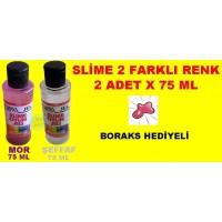 Slime Jeli Sıvı 2Li Set Renk Mor-Şeffaf Boraks Hediyeli