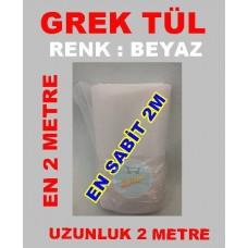 Grek Tül Beyaz Renkli 2 Metre
