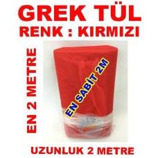 Grek Tül Kırmızı Renkli 2 Metre