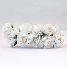 Paper Rose White - Artificial Flower 12 pieces