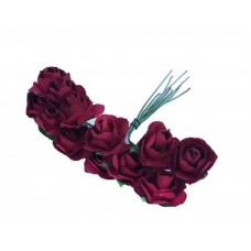 Paper Rose Claret Red- Artificial Flower 12 pieces