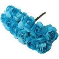 Paper Rose Blue - Artificial Flower 12 pieces