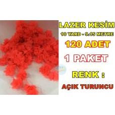 Lazer Kesim Tül Çiçek Fosfor Turuncu Renk Satışı 10 Yard