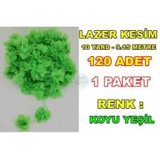 Lazer Kesim Tül Çiçek Fosfor Yeşil 10 YARD