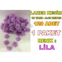 Lazer Kesim Tül Çiçek Lila 120 Adet 10 YARD