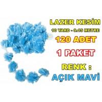 Lazer Kesim Tül Çiçek Mavi 120 Adet 10 YARD Satışı
