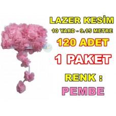 Lazer Kesim Tül Çiçek Pembe 120 Adet 10 YARD