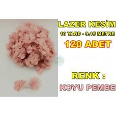 Lazer Kesim Tül Çiçek Pudra 120 Adet 10 Yard