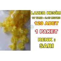 Lazer Kesim Tül Çiçek Sarı 120 Adet 10 YARD