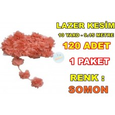 Lazer Kesim Tül Çiçek Somon 120 Adet 10 Yard